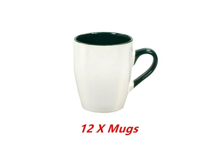 12 x Ceramic Calypso White Green Mug Coffee Mugs Drinking Tea Cup Tumbler Event Party