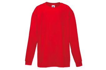 Fruit Of The Loom Childrens/Kids Long Sleeve T-Shirt (Pack of 2) (Red) (7-8)