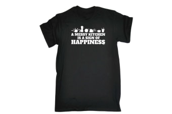 123T Funny Tee - A Messy Kitchen Is Sign Of Happiness - (Large Black Mens T Shirt)