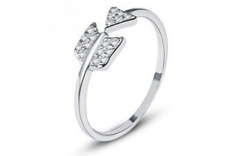 .925 Arrow Ring II-Silver/Clear Adjustable Size