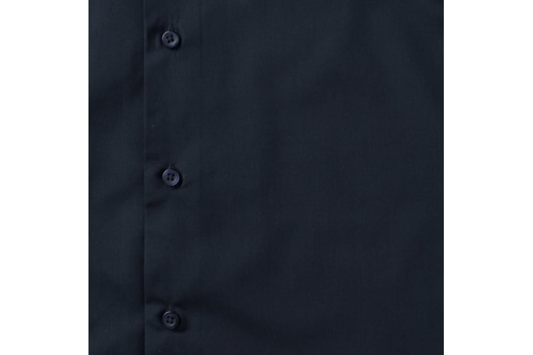 Russell Collection Mens Short Sleeve Poly-Cotton Easy Care Tailored Poplin Shirt (French Navy) (M)