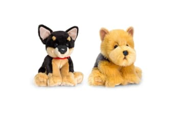 2PK Keel 35cm Children Cuddles Chihuahua/Cairns Terrier Dogs Soft Stuffed Toy
