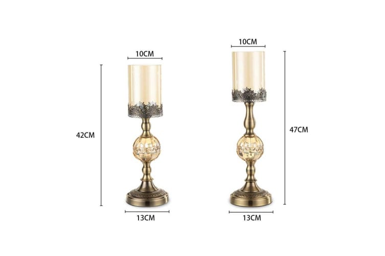 SOGA 48cm Glass Candle Holder Candle Stand Glass/Metal with Candle