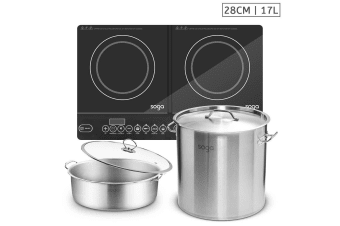 SOGA Dual Burners Cooktop Stove, 17L Stainless Steel Stockpot 28cm and 28cm Induction Casserole