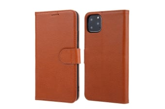 For iPhone 11 Pro Max Case Cowhide Genuine Leather Wallet Protective Cover Brown