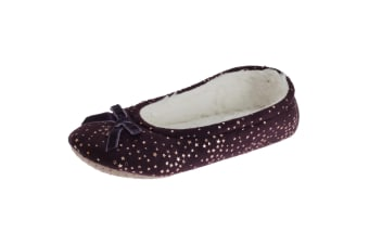 SlumberzzZ Womens/Ladies Faux Fur Lined Star And Bow Tie Slippers (Purple) (7/8 UK / 40/41 EU)