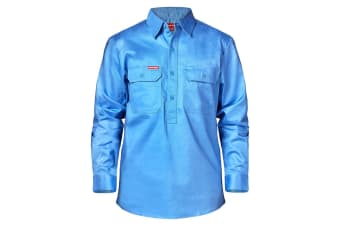 Hard Yakka Cotton Drill Closed Front Long Sleeve Shirt (Blue Medit)