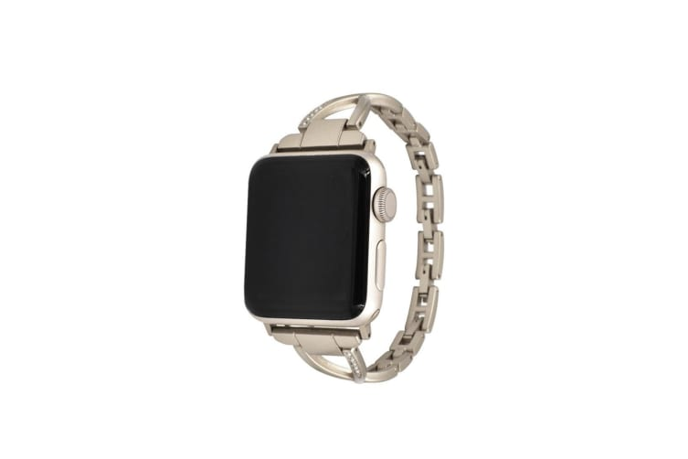 Select Mall Stylish Metal X-shaped Shiny Watch with Steel Strap for Apple IWatch 5 4 3 2 1-Gold 40mm