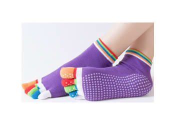 3 Pack Of Women Antislip Ankle Grip Colorful 5 Toe Finger Cotton Yoga Socks