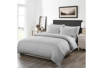 Royal Comfort 1200TC Fitted Sheet Quilt Cover and Pillowcase Combo Set UltraSoft - Double - Silver Grey