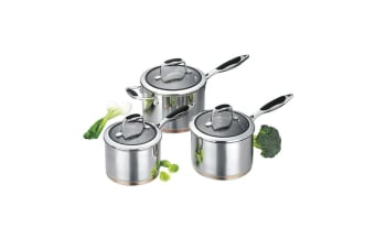 Scanpan Coppernox 3PC Saucepan Set Stainless Steel Induction Gas Oven Cookware