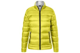 James and Nicholson Womens/Ladies Quilted Down Jacket (Yellow/Silver) (M)