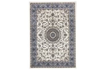Medallion Runner Rug White with Blue Border