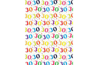 Simon Elvin 24 Sheets 30th Birthday Gift Wraps (White/Multicoloured)