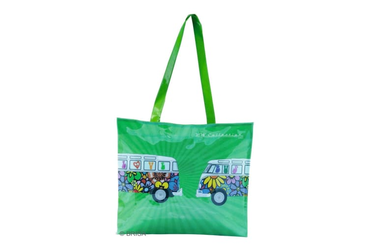 VW Collection Campervan Print PVC Shopping Tote Bag (Green Hippy Vans) (One Size)