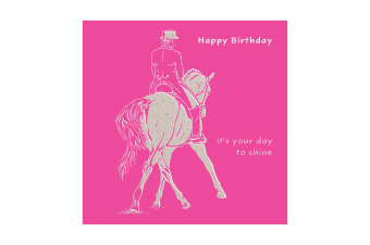 Deckled Edge Colour Block Pony Greetings Card (Happy Birthday - Horse and Rider (Bright Pink))