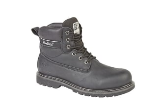 Woodland Mens 6 Eye Padded Utility Boots (Black)