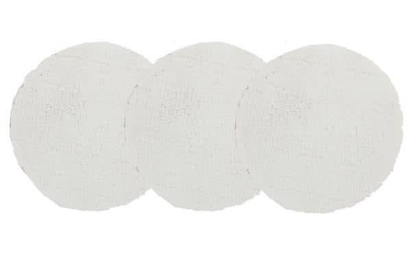 Pack of 3 Freckles Round Shag Rugs White 60x60cm