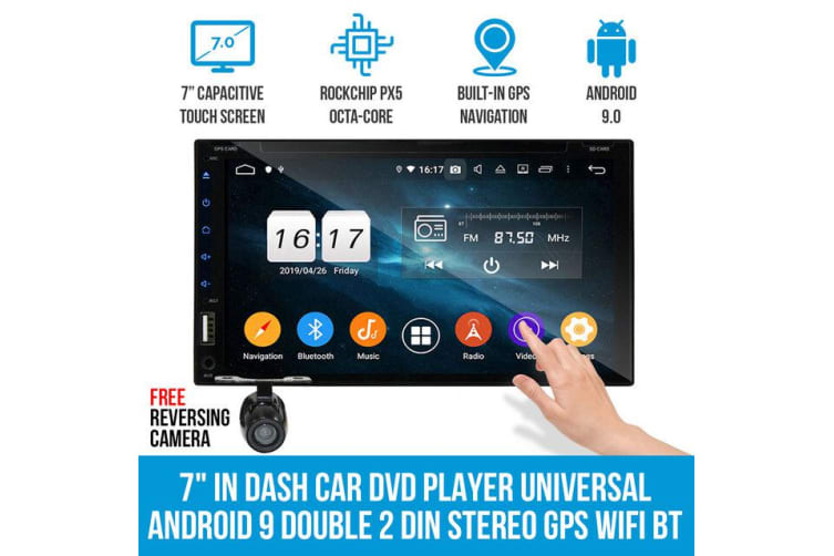 """Elinz 7"""" In Dash Car DVD Player Universal 2 DIN Android 9 GPS WiFi BT Reverse Camera"""