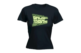 123T Funny Tee - To The 8S Glow In Dark - (Large Black Womens T Shirt)