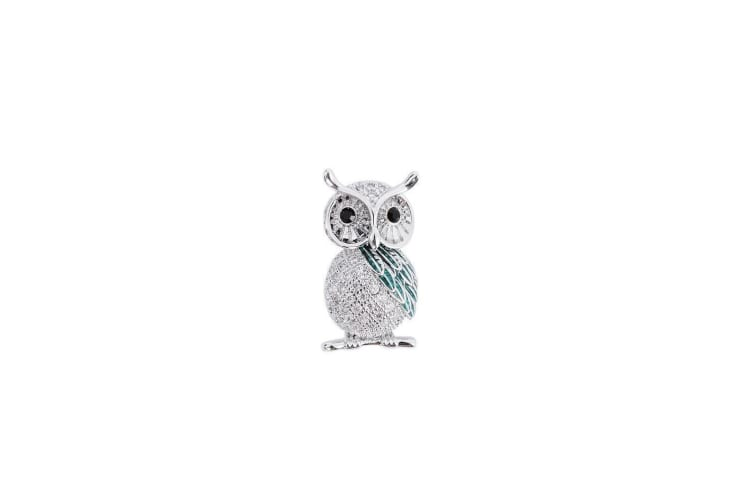 Fable Womens/Ladies Cubic Zirconia Owl Brooch (Silver) (One Size)