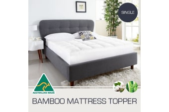 Single Size Aus Made 1000GSM Bamboo Fibre Pillowtop Mattress Topper