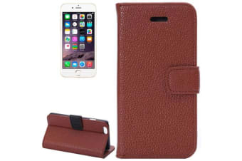 For iPhone 6S PLUS 6 PLUS Wallet Case Lychee Leather Shielding Cover Brown