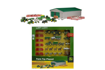 John Deere 70Pc Vehicle Set/Tractor/Truck/Shed/Kids Toy/Play/Animal/Diecast 5y+