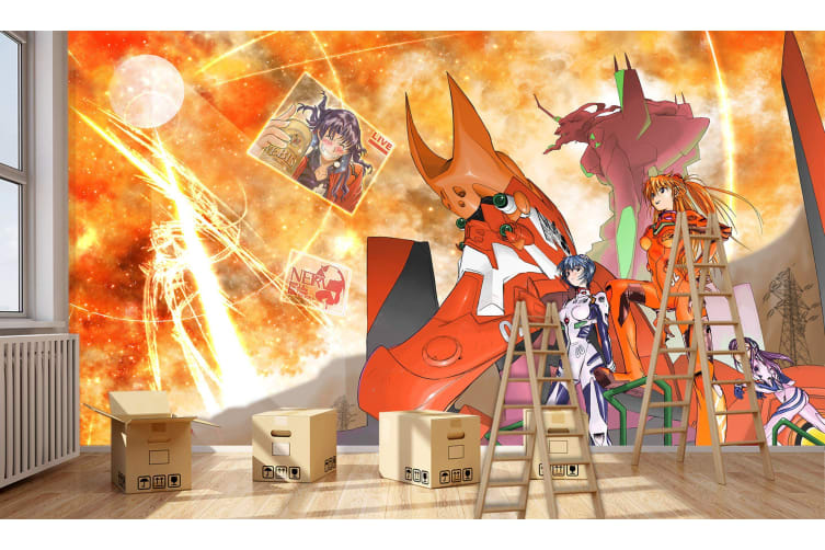 3D Neon Genesis Evangelion 64 Anime Wall Murals Woven paper (need glue), XXL 312cm x 219cm (WxH)(123''x87'')