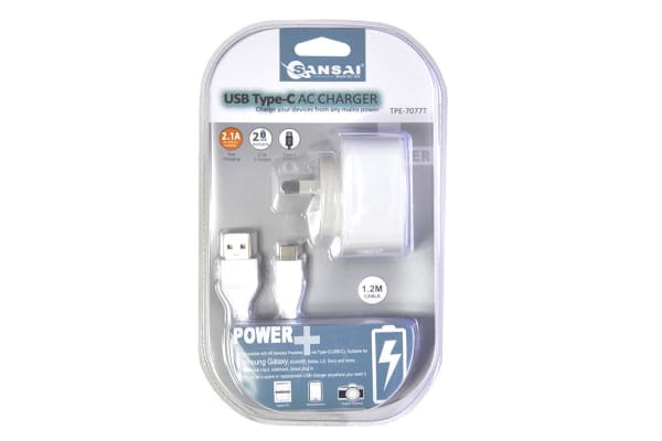 Sansai 2.1A AC Charger with 2 USB Outlets & Type C USB Cable (TPE-7077)
