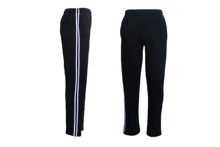 New Men's Fleece Lined Striped Casual Sport Track Suit Sweat Pants Gym Trackies - Black w White Stripes