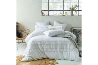 Tassel Linen Cotton Quilt Cover Set White by Accessorize