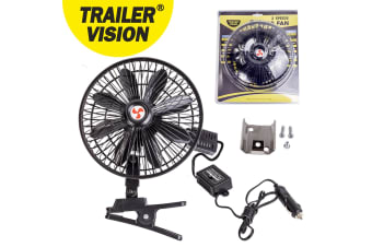 "SPRING CLAMP MOUNT TRUCK RV CARAVAN BOAT 8"" INTERIOR FAN 2 SPEED 12 12V VOLT"