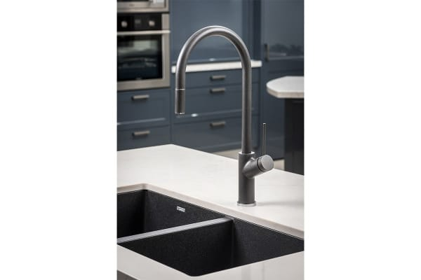 Oliveri Santorini Black Double Bowl Undermount Sink (ST BL1563U)