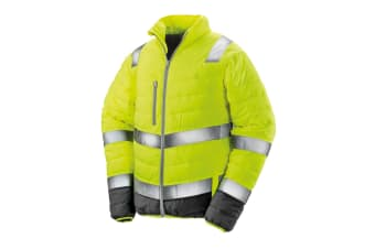 Result Safeguard Mens Soft Padded Safety Jacket (Fluorescent Yellow) (2XL)