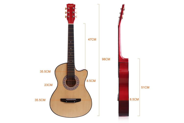 """Melodic 38"""" Inch Wooden Folk Acoustic Guitar Classical Full Size Cutaway Full set Nature"""
