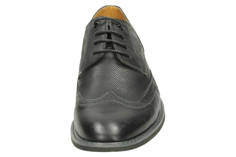 Thomas Blunt Mens Perforated Panel Lace Up Brogue Shoes (Black) (7 UK)