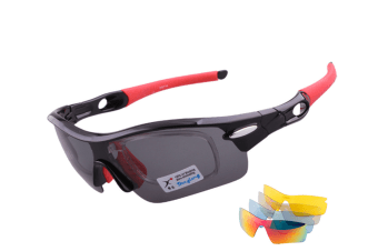 Outdoor Mountain Bike Riding Glasses Windproof Polarizing Glasses 5 Pieces Suit - Red Red 5Pcs