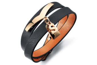 Genuine Cow Leather Wrap Bracelet With Letter 'S'-Leather/Black
