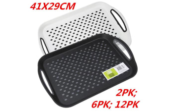 2 x Rectangular Non Slip Plastic Serving Tray Food Tray Rubber Surface 41x29cm