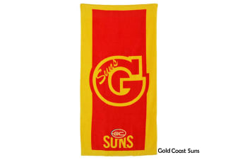 AFL Licensed Cotton Beach Towel Gold Coast Suns