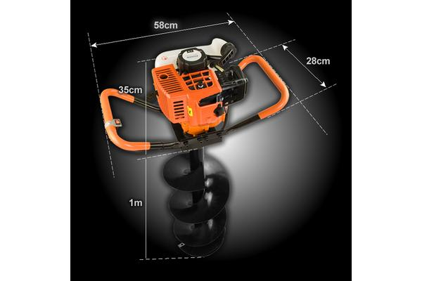 72cc 2 Stroke Engine Hole Digger + 3 Augers + 2 Extension