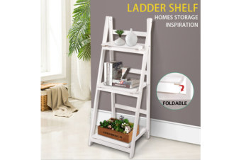 3 Tier Wooden Ladder Shelf Stand Storage Book Shelves Shelving Display Rack