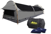 Double Camping Canvas Swag Tent with Air Pillow (Grey)