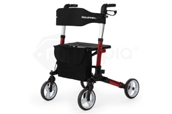 EQUIPMED Rollator Walking Frame Walker Foldable Seat Mobility Aid Aluminium Red