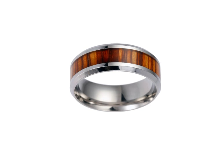Men'S Unique Wood Pattern Center Stainless Steel Band Ring 7