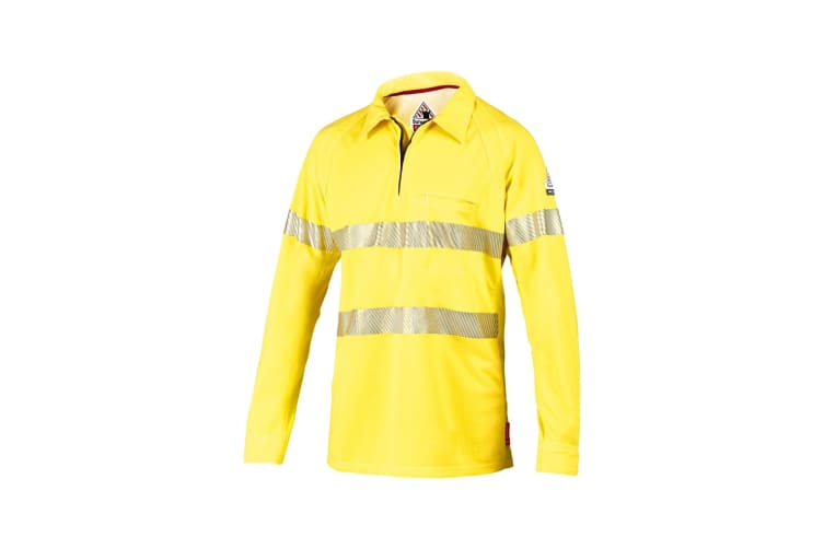 Hard Yakka Women's Bulwark iQ Flame Resistant Hi-Vis Taped Long Sleeve Polo (Yellow, Size XL)