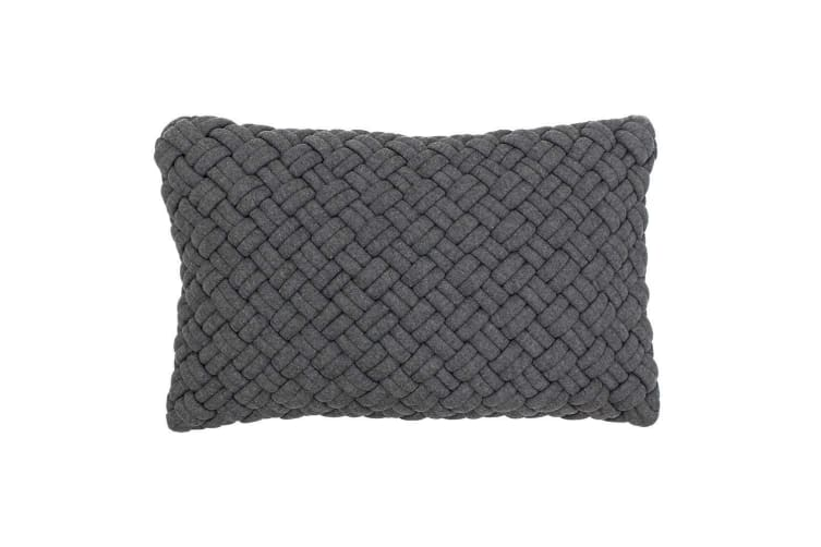Riva Paoletti Kriss Quilted Cushion Cover (Charcoal) (30 x 50cm)