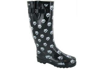 Cotswold Collection Dog Paw Welly / Womens Boots (Black)