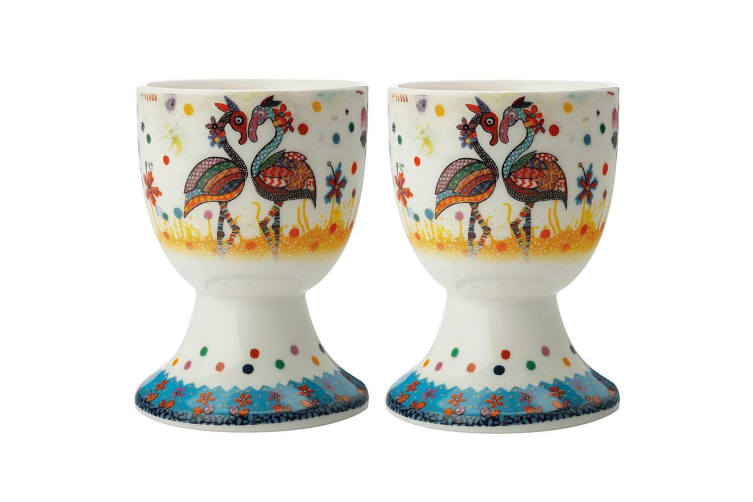 2pc Maxwell & Williams Smile Style Boiled Egg Cup Holder Stand Set Flamboyant